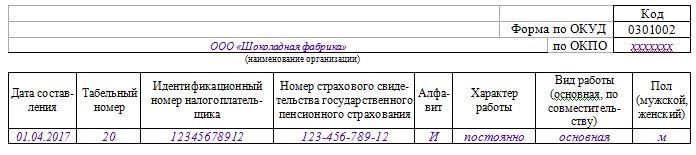 Порядок оформления личной карточки Т-2